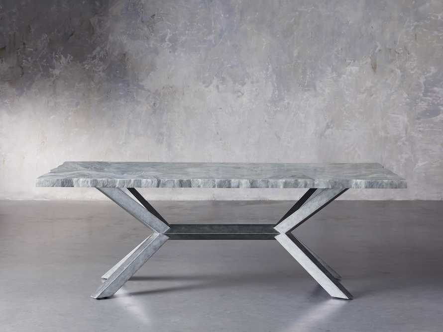 "Petra 74"" Rectangle Grey Marble Dining Table, slide 2 of 8"