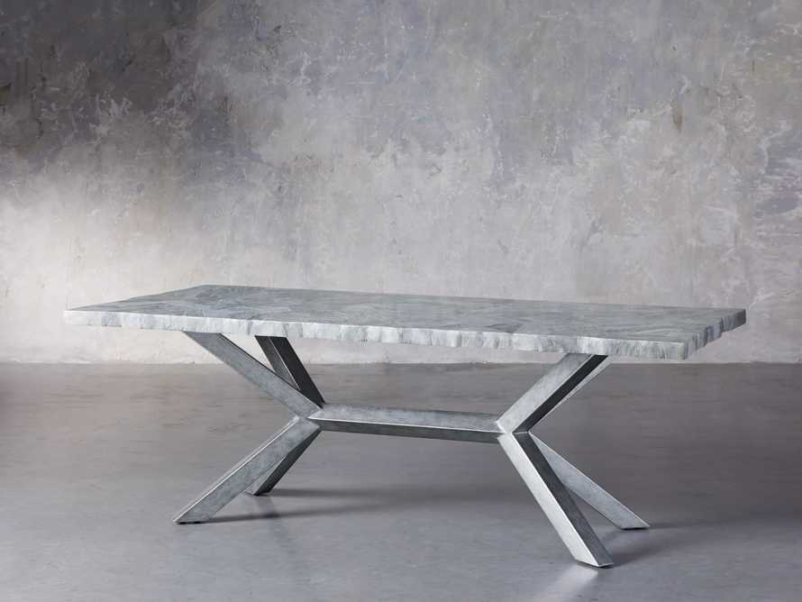 "Petra 74"" Rectangle Grey Marble Dining Table, slide 3 of 8"