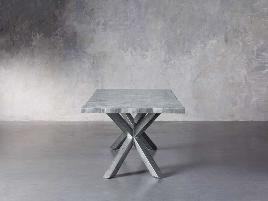 "Petra 74"" Rectangle Grey Marble Dining Table, slide 4 of 8"