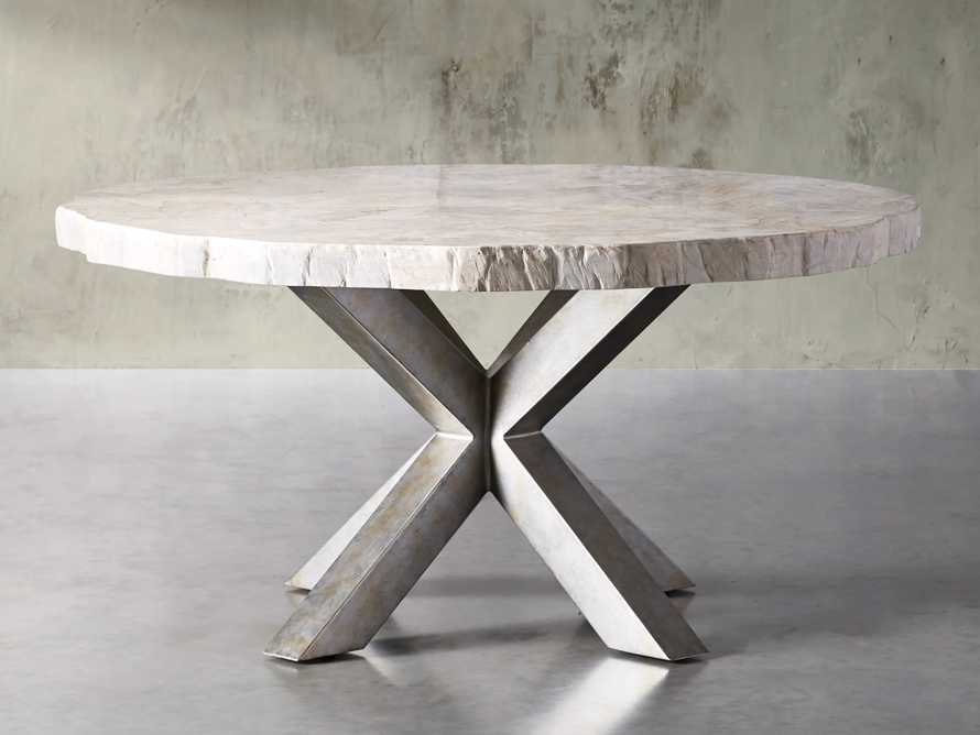 """Petra 60"""" Round Century Marble Dining Table in White, slide 1 of 5"""