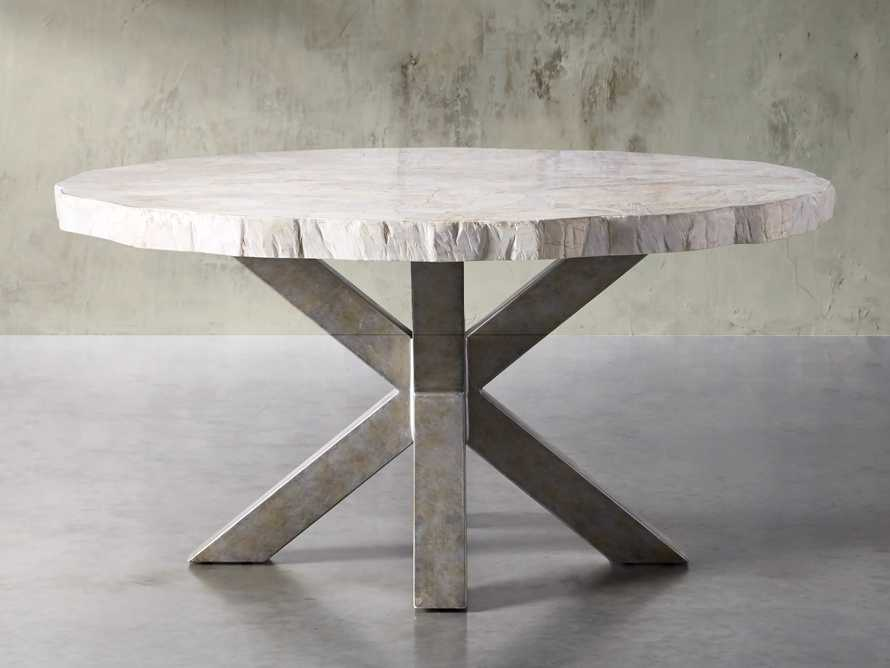"""Petra 60"""" Round Century Marble Dining Table in White, slide 2 of 5"""
