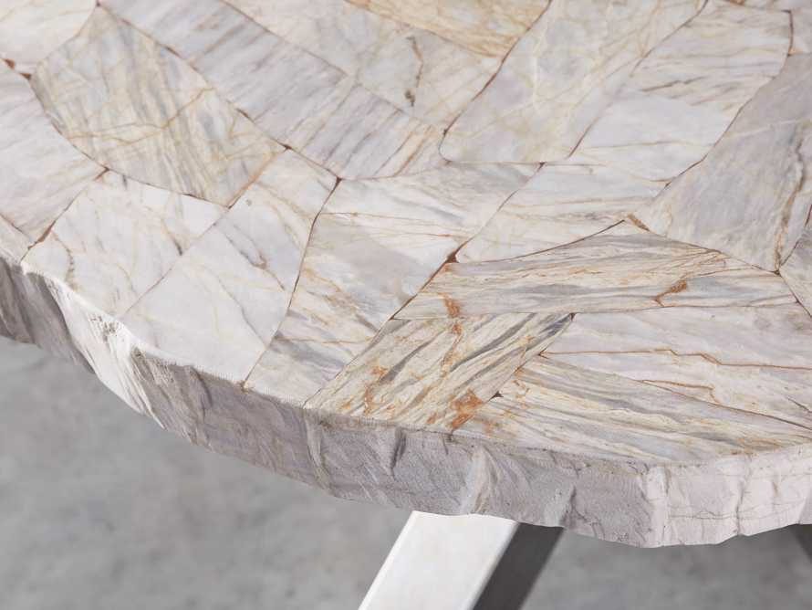 """Petra 60"""" Round Century Marble Dining Table in White, slide 4 of 5"""