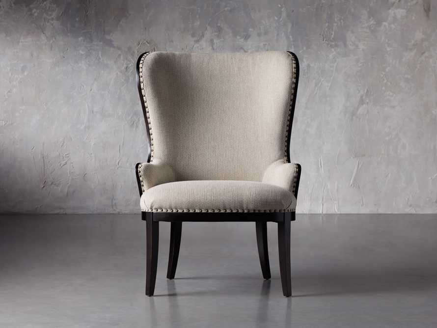 "Portsmouth Upholstered 32"" Dining Arm Chair in Jennings Cement, slide 1 of 8"
