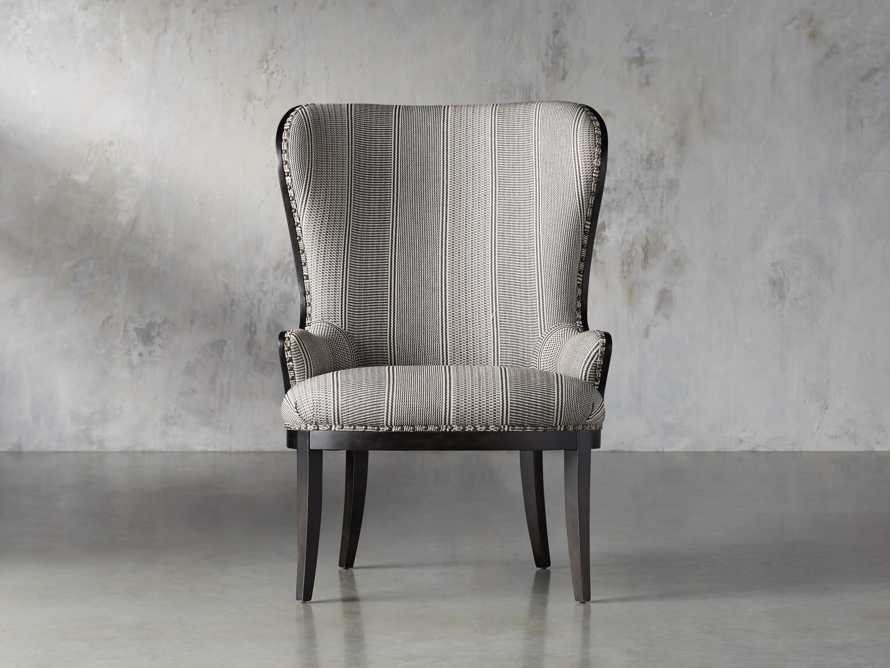 "Portsmouth Upholstered 32"" Dining Arm Chair in Windrow Peppercorn and Cary Linen, slide 1 of 9"