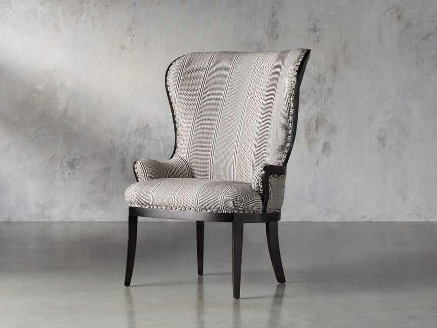 "Portsmouth Upholstered 32"" Dining Arm Chair in Windrow Peppercorn and Cary Linen, slide 3 of 9"