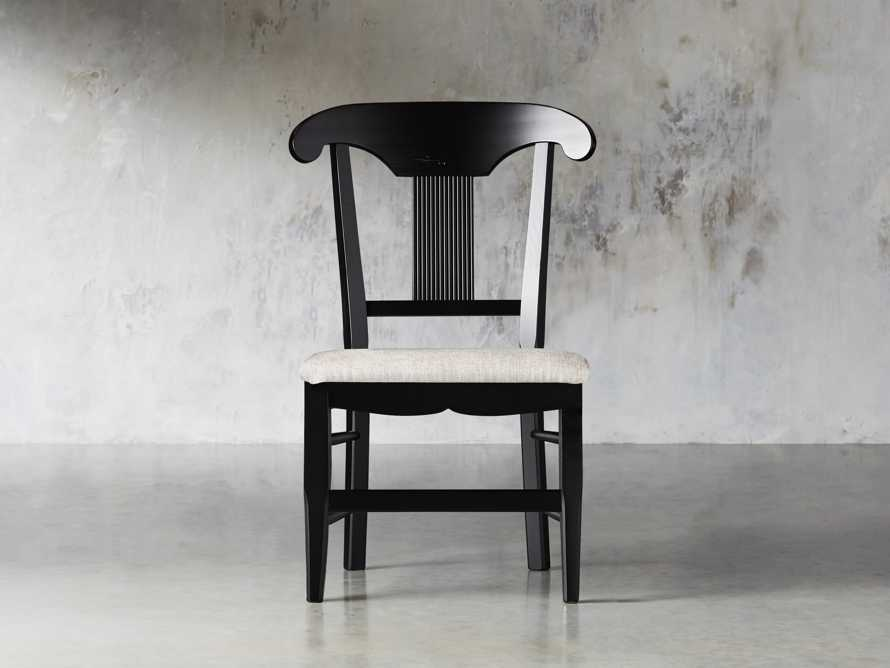 "Tuscany 25"" Dining Side Chair with Upholstered Seat in Rubbed Black, slide 2 of 5"