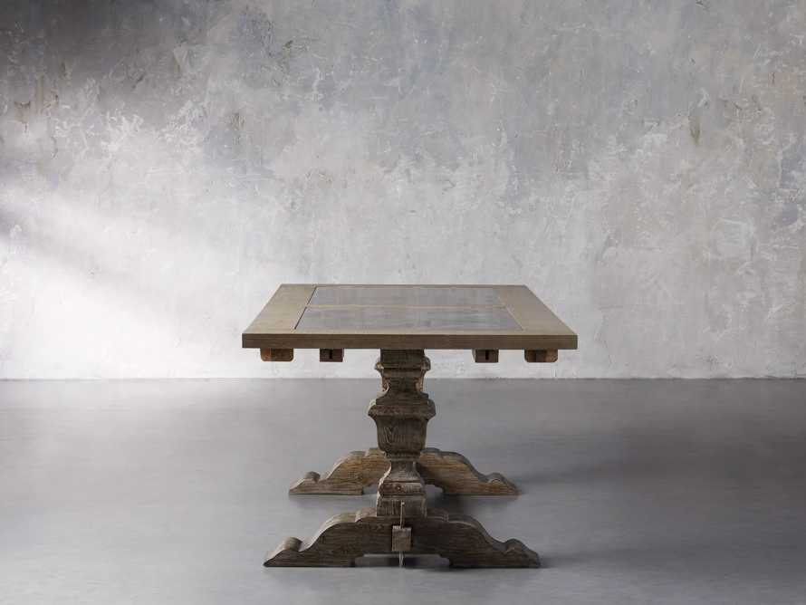 """Wilhelm 72"""" Rustic Grey and Bluestone Extension Dining Table With Earl Black Base"""