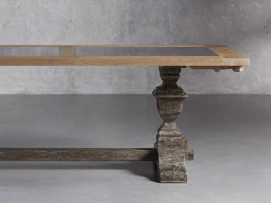 """Wilhelm 72"""" Natural Weathered and Bluestone Extension Dining Table With Earl Black Base, slide 1 of 9"""