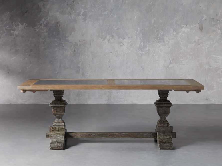 """Wilhelm 72"""" Natural Weathered and Bluestone Extension Dining Table With Earl Black Base, slide 2 of 9"""