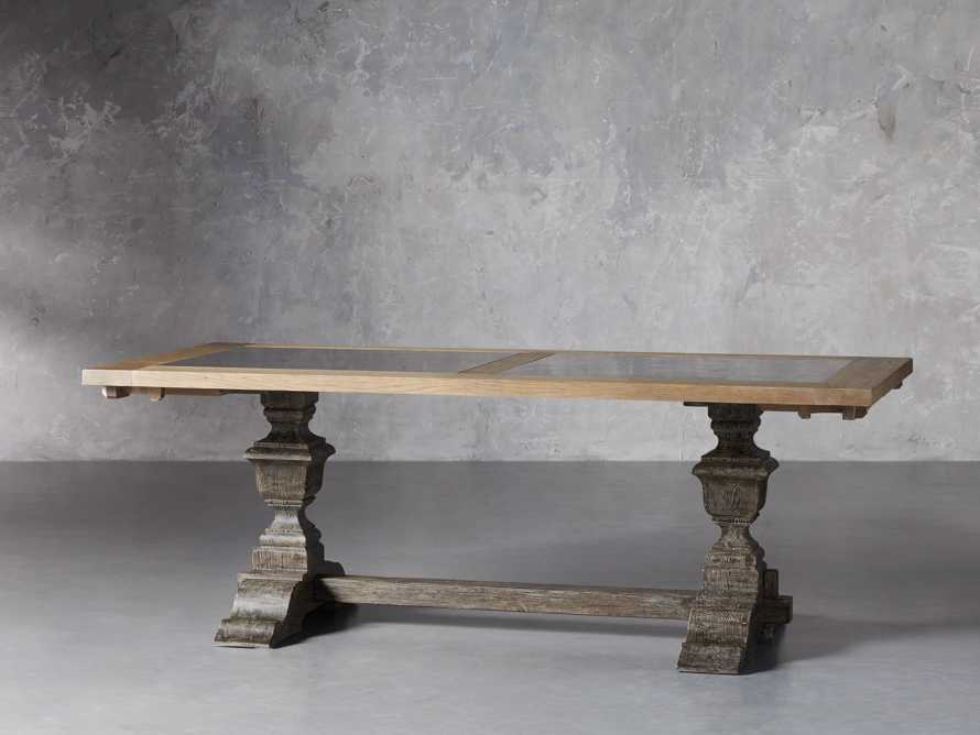 """Wilhelm 72"""" Natural Weathered and Bluestone Extension Dining Table With Earl Black Base"""