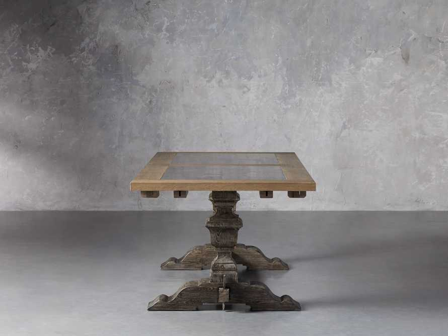 """Wilhelm 72"""" Natural Weathered and Bluestone Extension Dining Table With Earl Black Base, slide 4 of 9"""