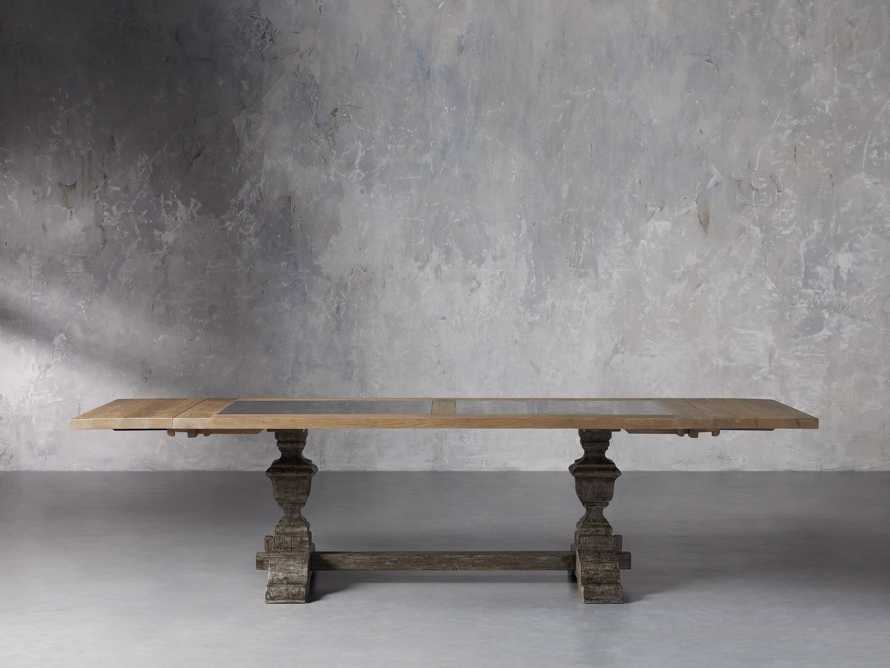 """Wilhelm 72"""" Natural Weathered and Bluestone Extension Dining Table With Earl Black Base, slide 5 of 9"""
