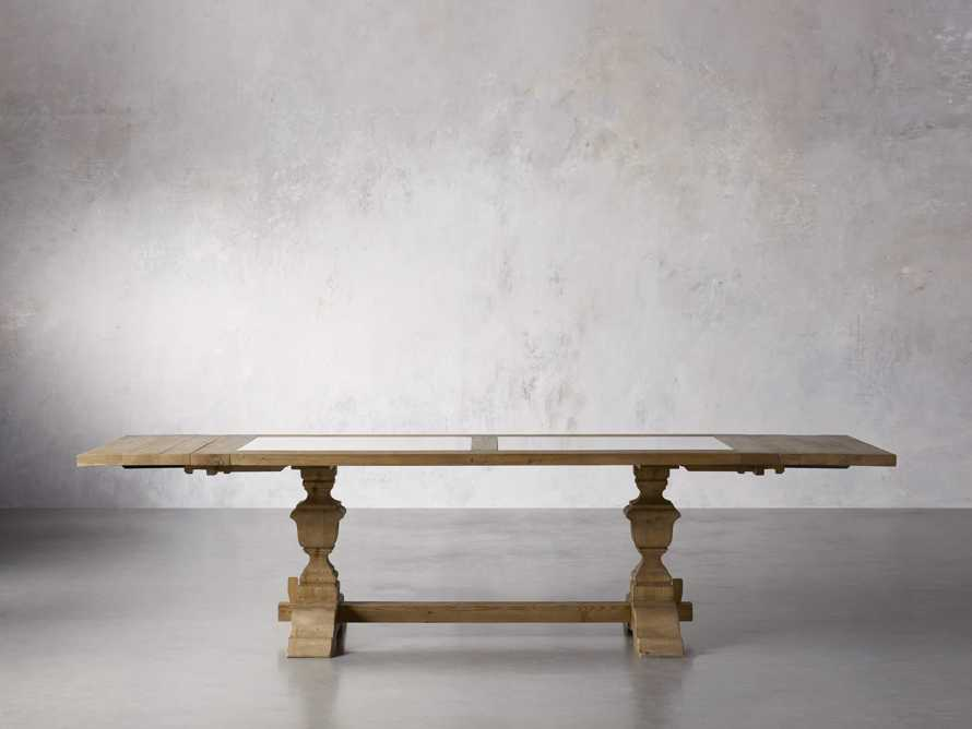 """Wilhelm 72"""" Natural Weathered and White Marble Extension Dining Table with Natural Weathered Base, slide 6 of 14"""