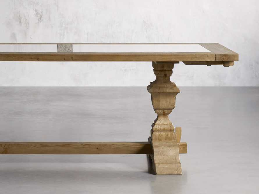 """Wilhelm 72"""" Natural Weathered and White Marble Extension Dining Table with Natural Weathered Base, slide 2 of 14"""
