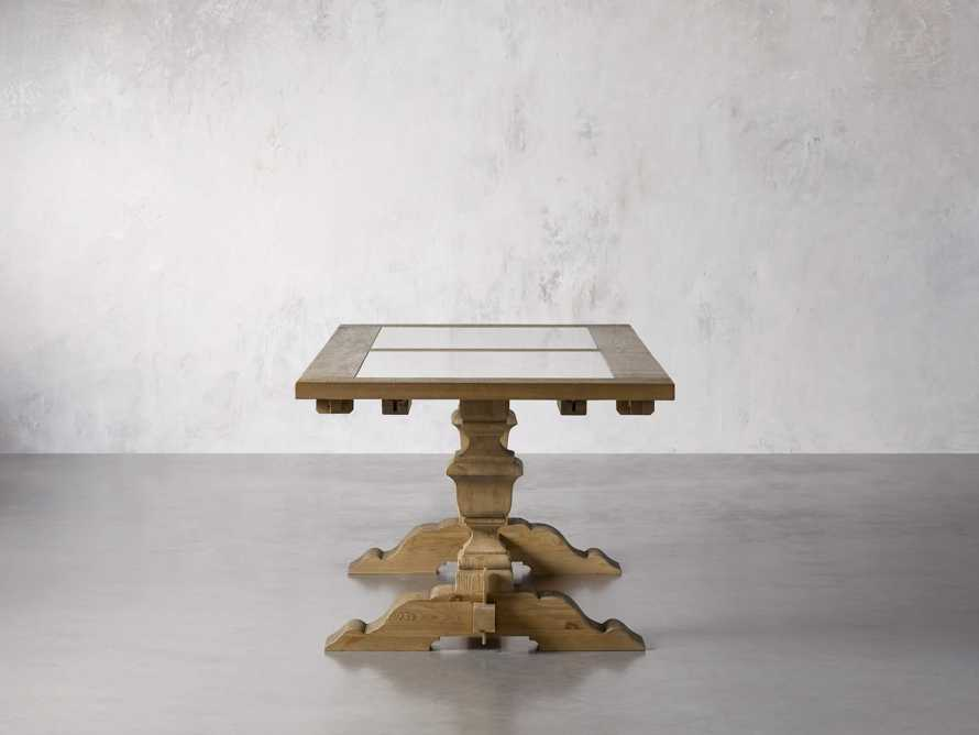 """Wilhelm 72"""" Natural Weathered and White Marble Extension Dining Table with Natural Weathered Base, slide 5 of 14"""