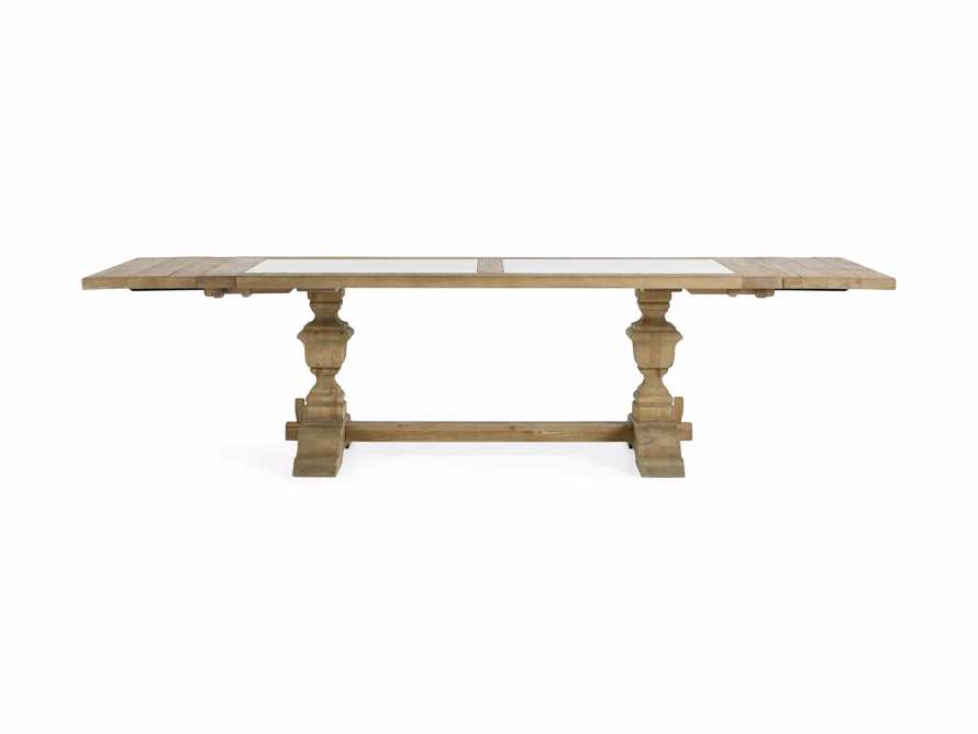 """Wilhelm 72"""" Natural Weathered and White Marble Extension Dining Table with Natural Weathered Base, slide 13 of 14"""