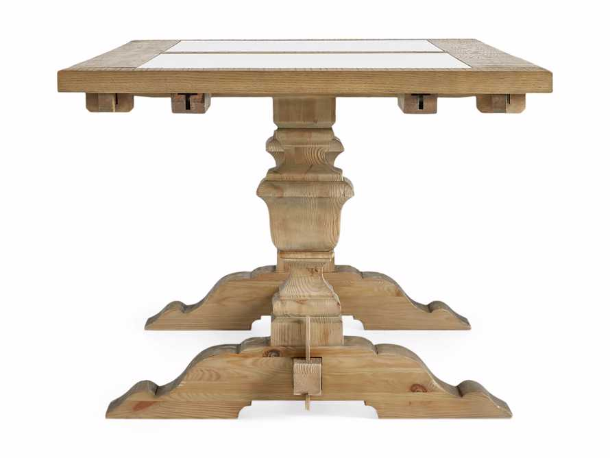 """Wilhelm 72"""" Natural Weathered and White Marble Extension Dining Table with Natural Weathered Base, slide 12 of 14"""