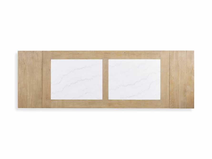"""Wilhelm 72"""" Natural Weathered and White Marble Extension Dining Table with Natural Weathered Base, slide 10 of 14"""