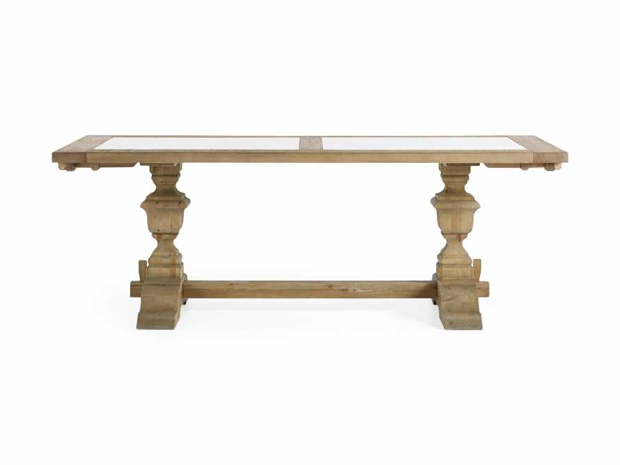 """Wilhelm 72"""" Natural Weathered and White Marble Extension Dining Table with Natural Weathered Base, slide 11 of 14"""