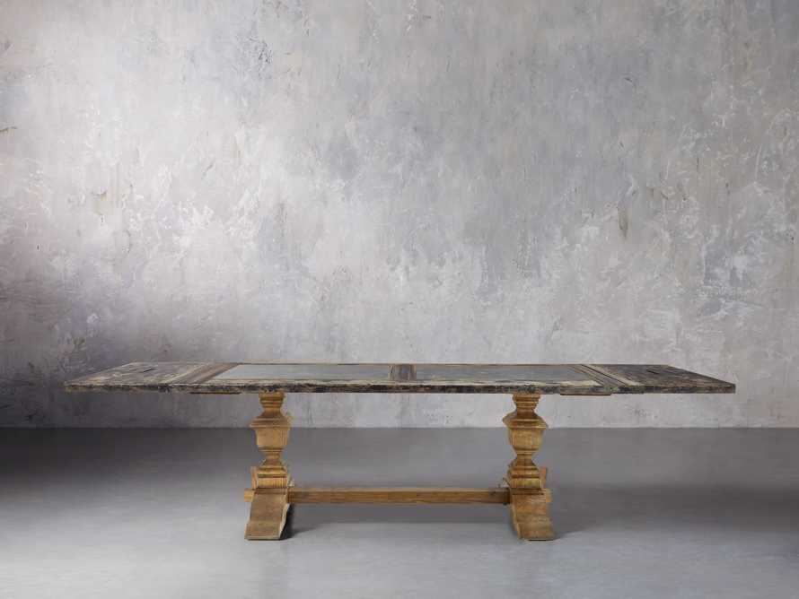 "Wilhelm 86"" Black And Bluestone Extension Table With Natural Base"