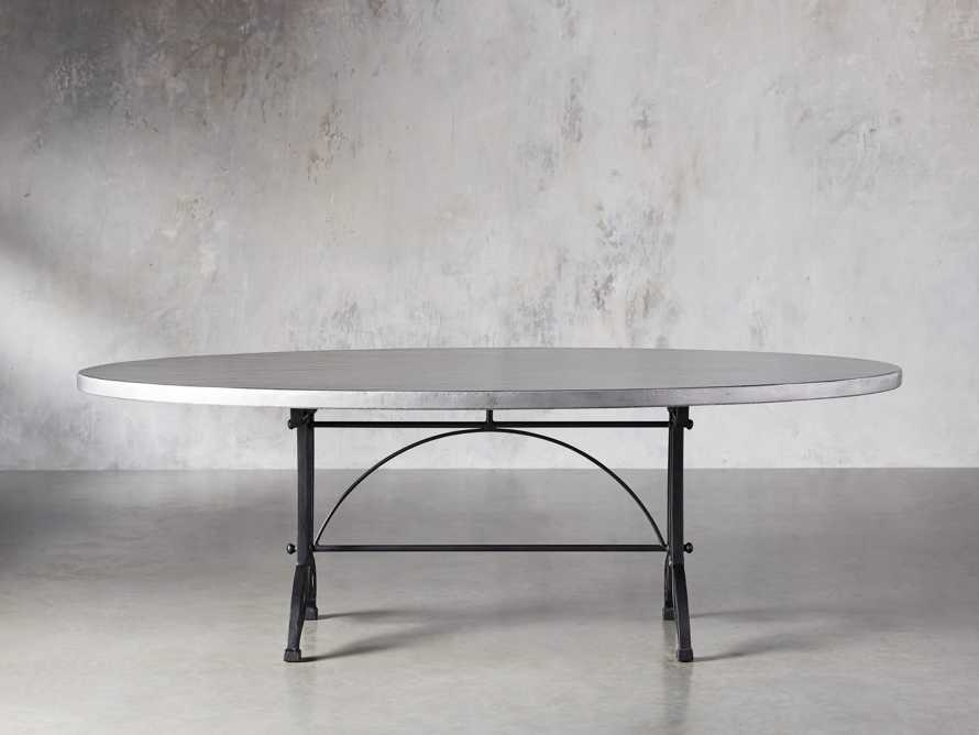 """Zinc Alloy 52"""" X 90"""" Oval Dining Table With Chantel Base, slide 2 of 5"""
