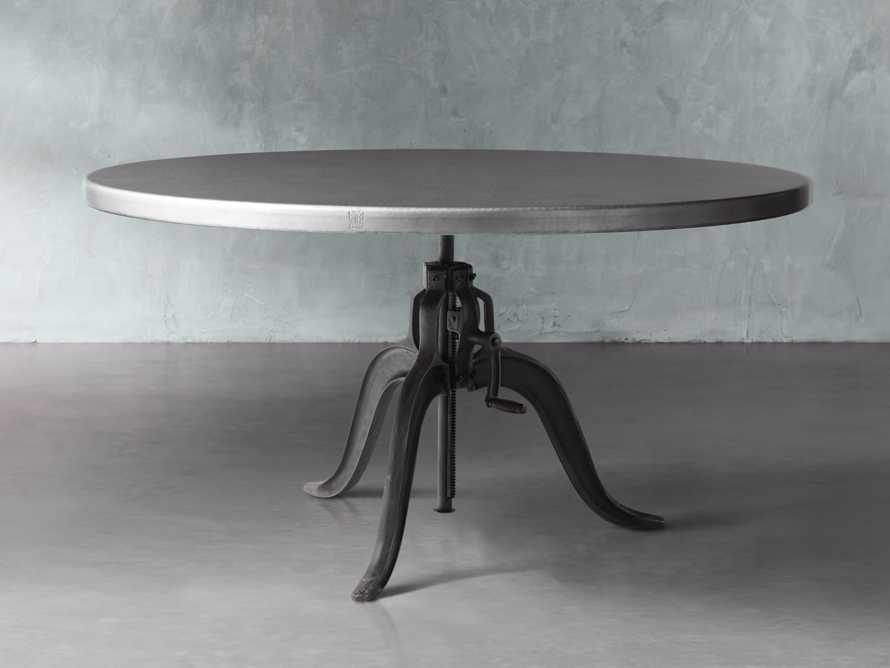 "Zinc Alloy 38"" Round Table Top With Small Edison Base, slide 1 of 3"