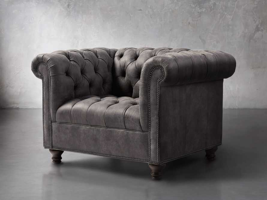 "Berwick 47"" Leather Tufted Chair, slide 2 of 7"