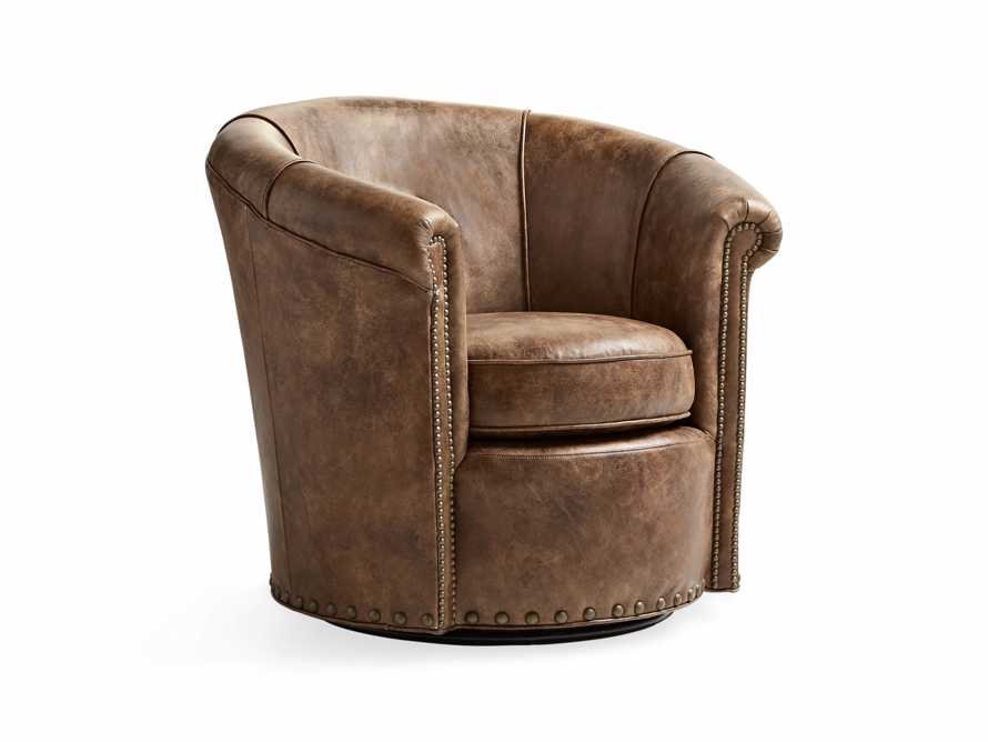 "Benedict 37"" Leather Swivel Chair"