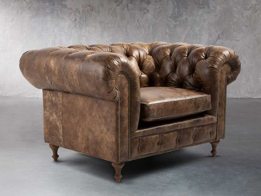 "Wessex Leather 56"" Tufted Chair, slide 2 of 8"