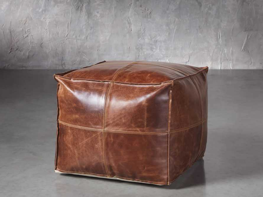 Stowe Leather Pouf, slide 1 of 3