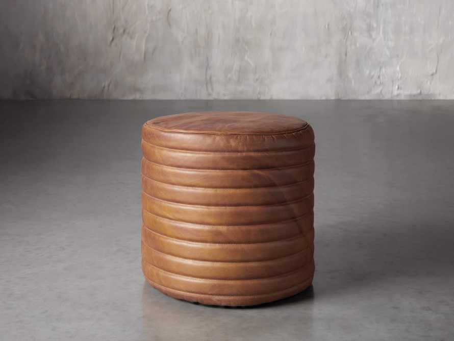 Round Channel Leather Pouf, slide 1 of 5