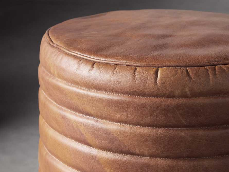 Round Channel Leather Pouf, slide 2 of 5