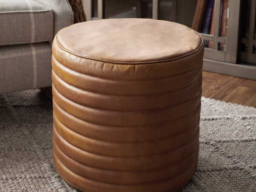 Round Channel Leather Pouf, slide 4 of 5