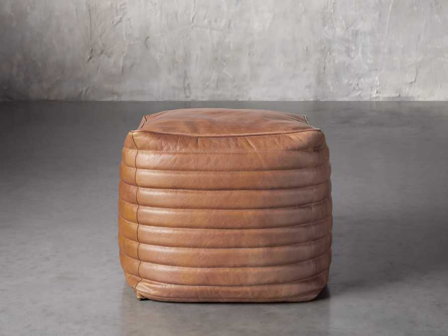 Square Channel Leather Pouf, slide 1 of 3