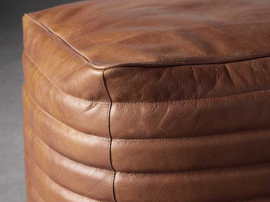 Square Channel Leather Pouf, slide 2 of 3