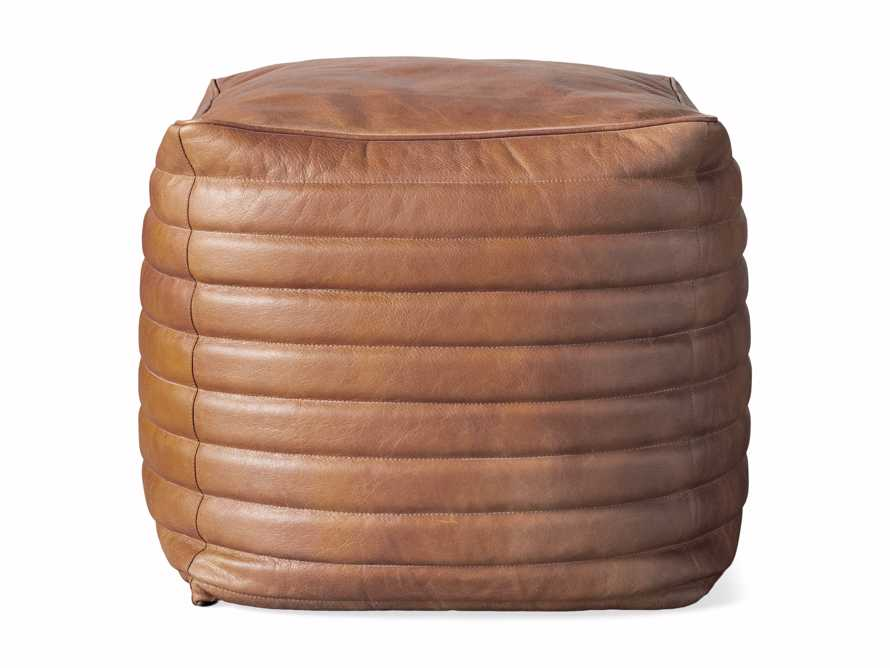Square Channel Leather Pouf, slide 3 of 3