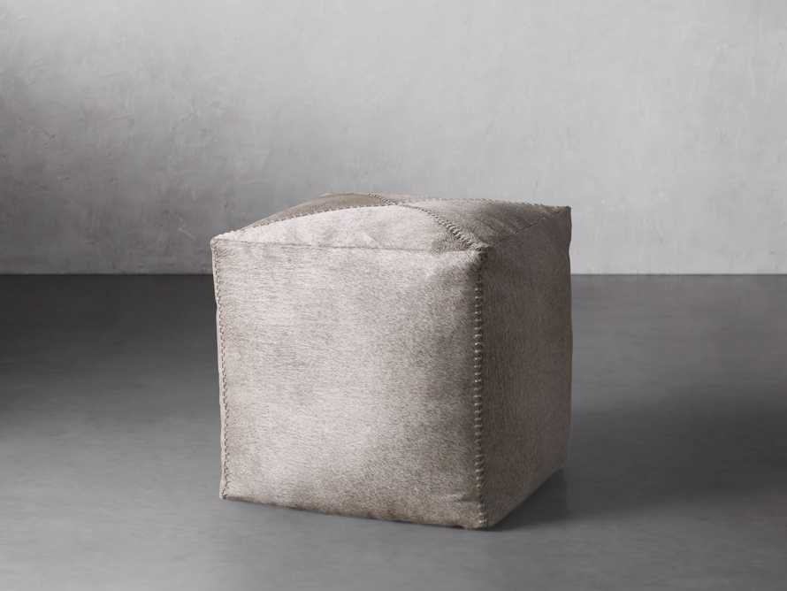 """Hide Whipstitch 16""""x16"""" Pouf in Grey, slide 1 of 3"""