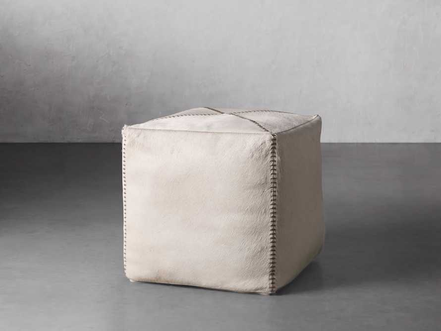 """Hide Whipstitch 16""""x16"""" Pouf in Ivory, slide 1 of 3"""