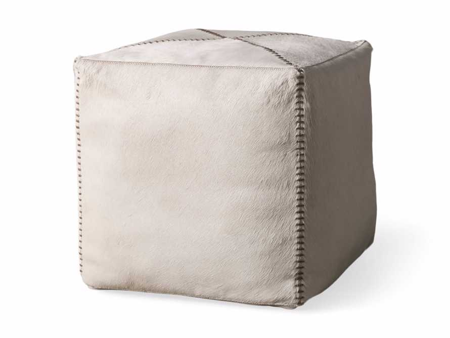 """Hide Whipstitch 16""""x16"""" Pouf in Ivory, slide 3 of 3"""