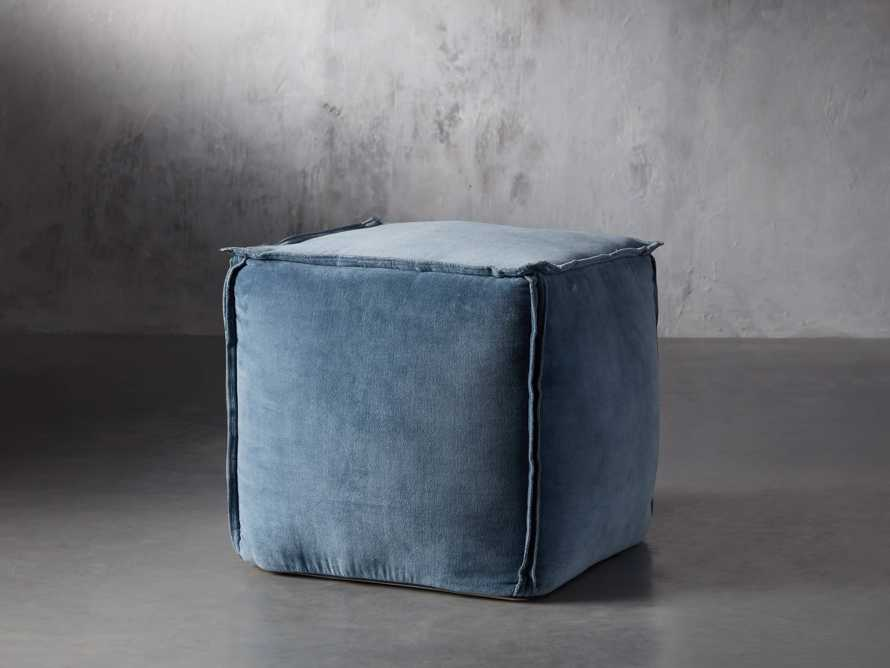 Washed Velvet Jade Pouf, slide 1 of 2