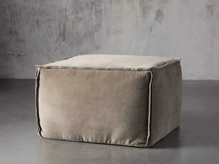 Washed Velvet Stone Pouf, slide 1 of 7
