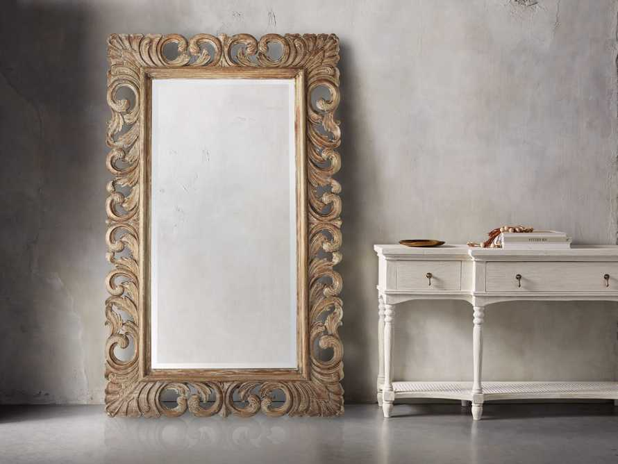 "PORTER 53"" X 84"" HAND CARVED MIRROR IN RUSTIC, slide 1 of 2"
