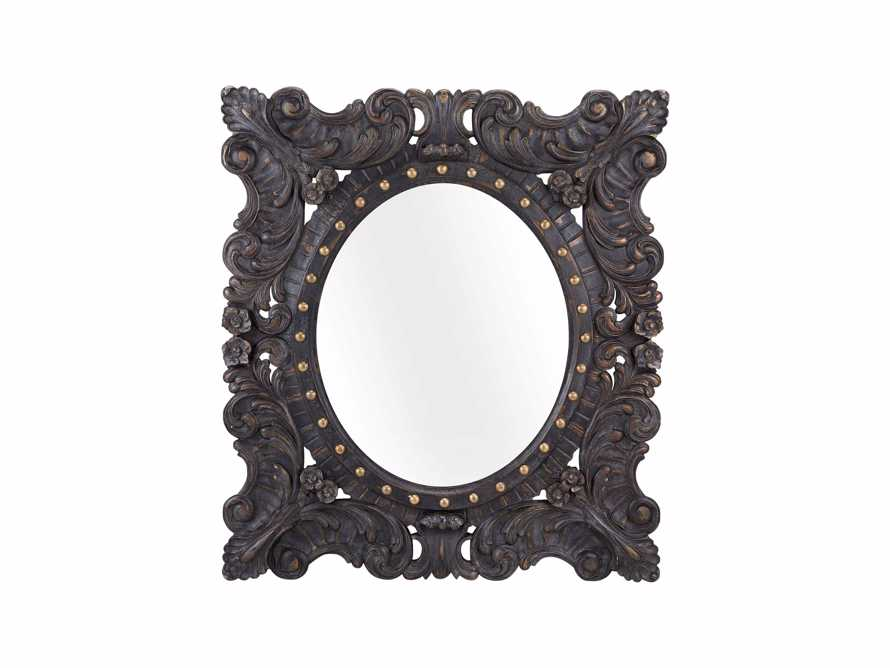 "MERLE 47"" X 53"" HAND CARVED SMALL MIRROR IN BLACK"