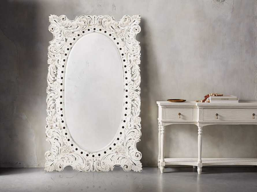 "MERLE 52"" X 84"" HAND CARVED LARGE MIRROR IN WHITE, slide 1 of 3"