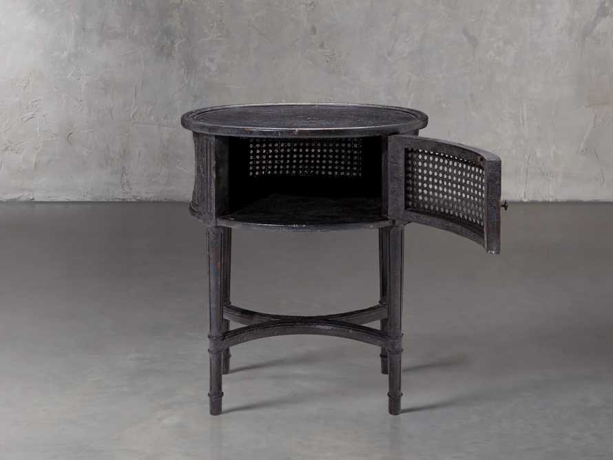Merle Caned End Table in Black, slide 2 of 6