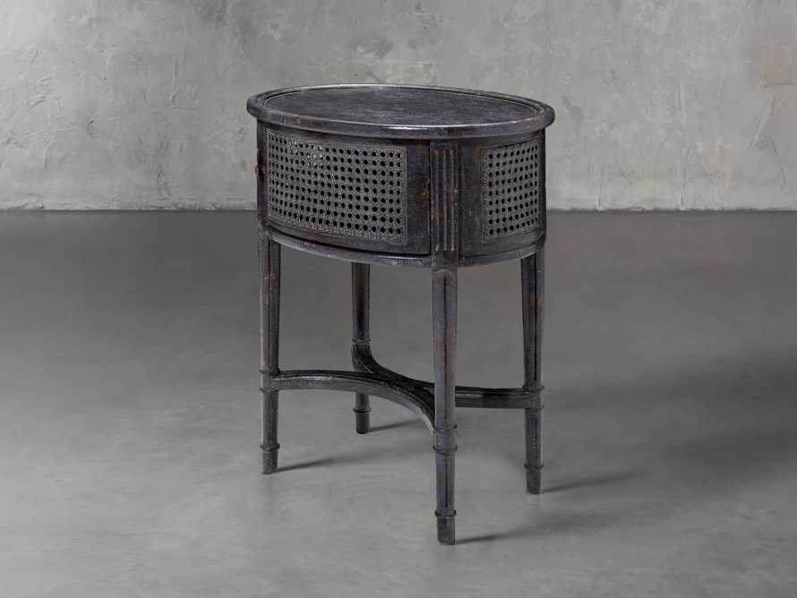 Merle Caned End Table in Black, slide 3 of 6