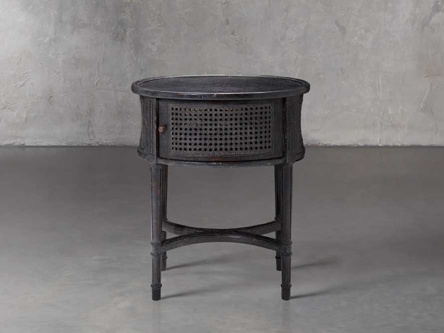 Merle Caned End Table in Black, slide 1 of 6