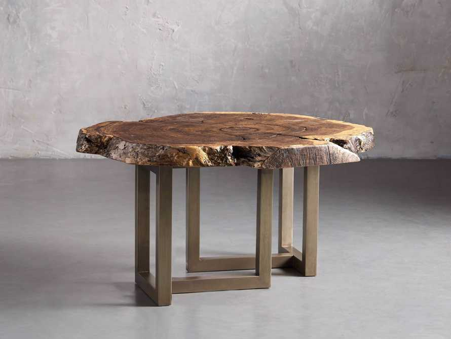 """36"""" One of a Kind Red Oak Live Edge Coffee Table with Brass Base"""