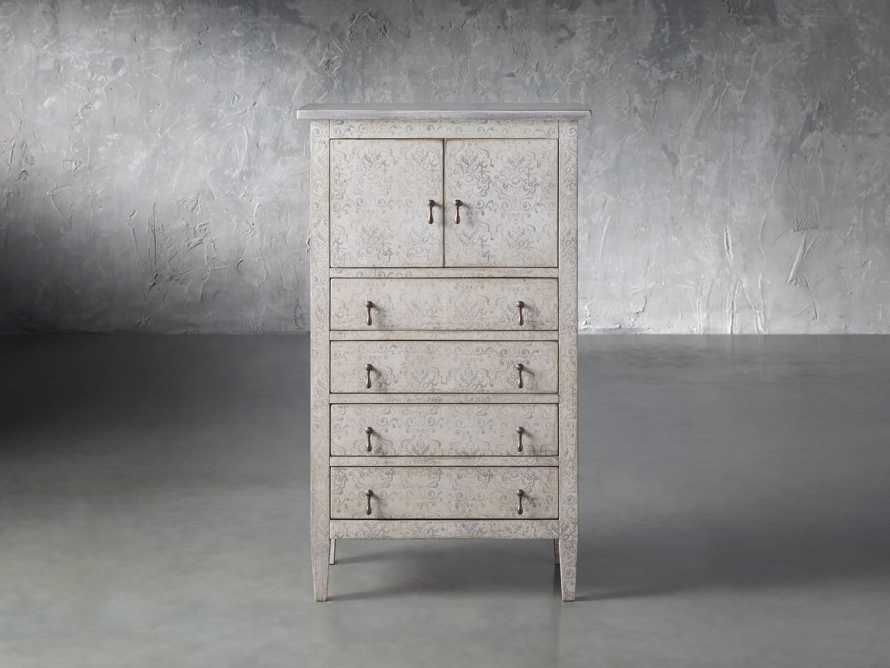 """Amalfi 31.5"""" Small 2 Door Cabinet with 4 Drawers in Bianco with Grigio, slide 1 of 5"""