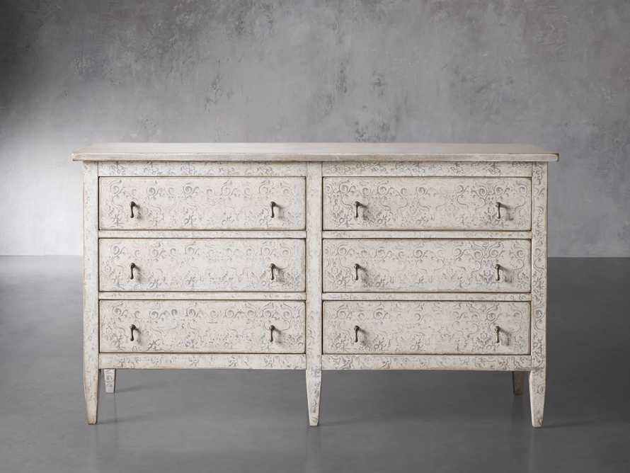 "Amalfi 63"" Six Chest Drawer in Bianco with Grigio, slide 1 of 5"